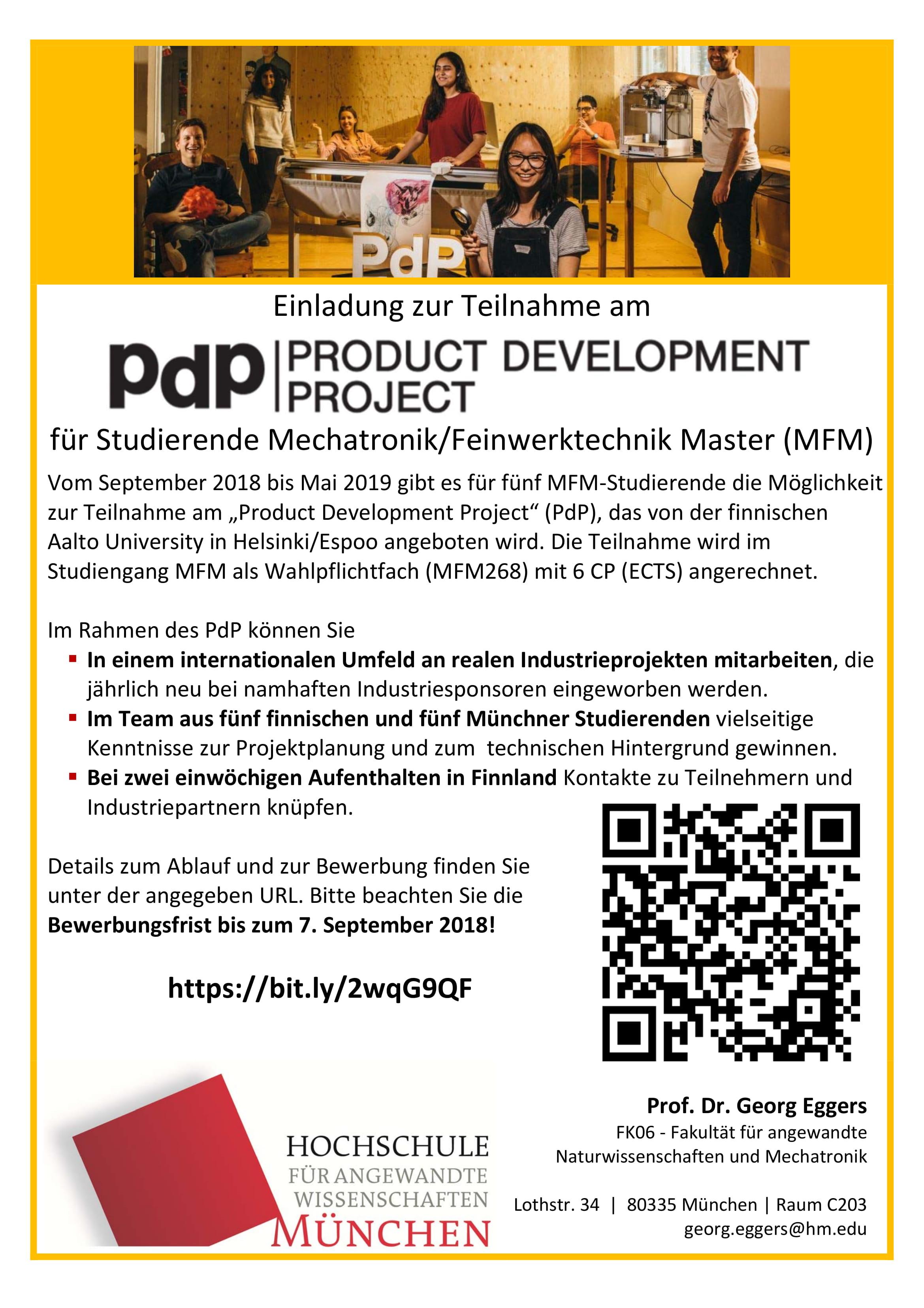 wahlpflicht modul product development project fr mfm - Hochschule Mnchen Bewerbung